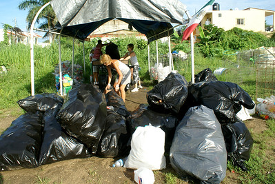 Black Bags Full of Plastic Bottles at Bucerias Recycling Center