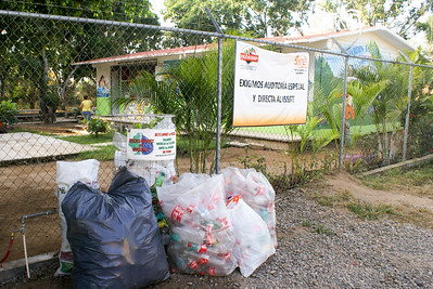 Bags with Plastic Bottles for Recycling outside Primary School