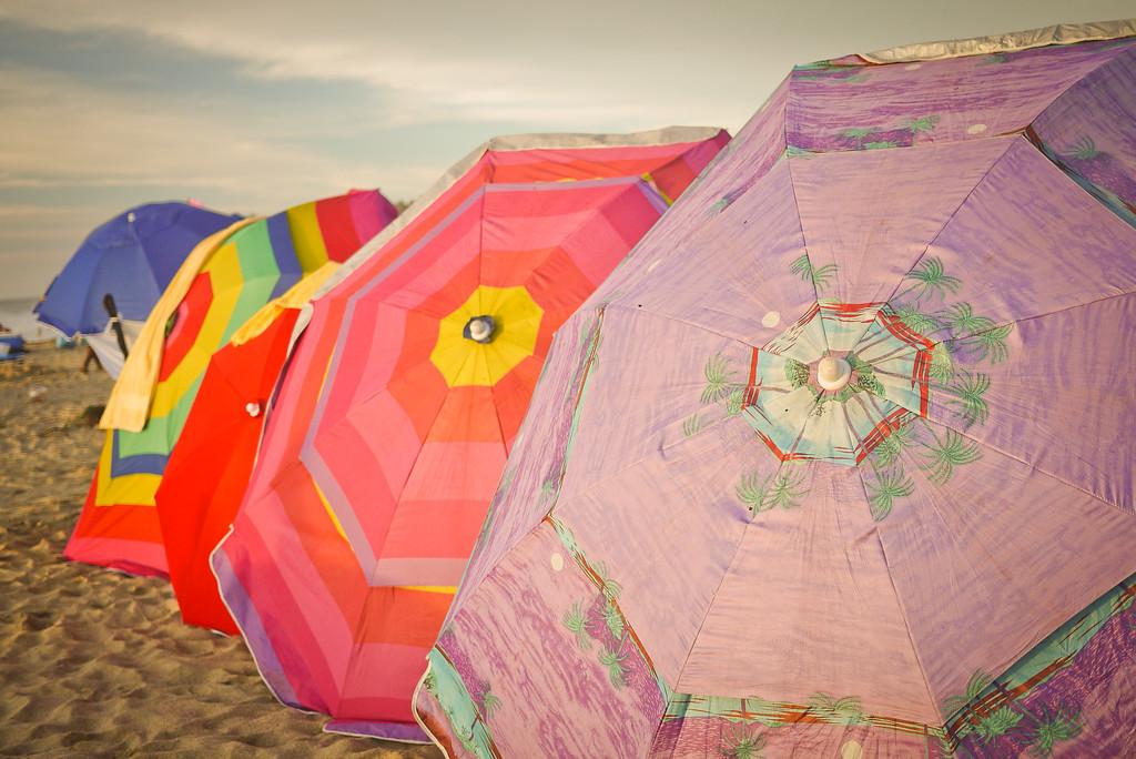 colorful beach umbrellas.