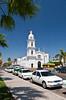 The Sagrado Corazon de Jesus Church exterior facade in Los Mochis, Sinaloa, Mexico.