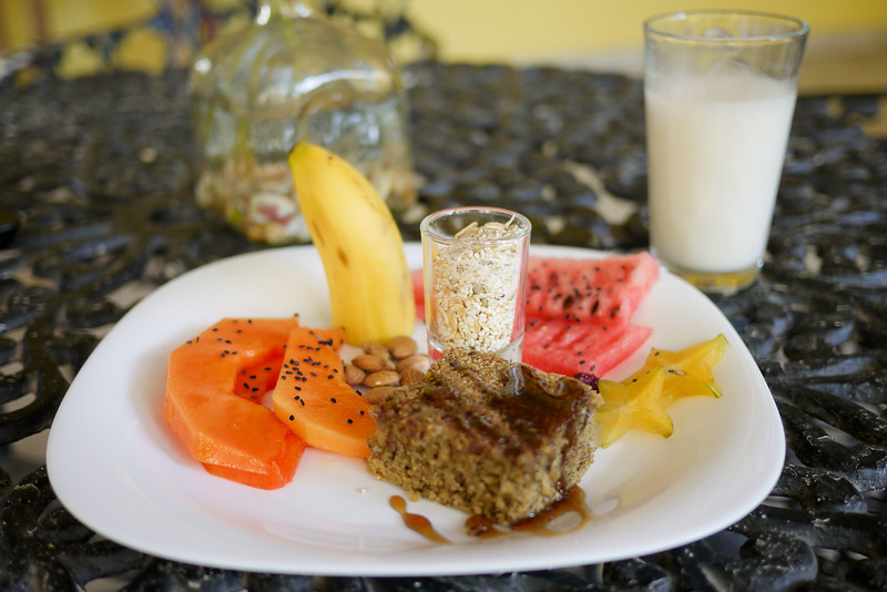A delicious and pretty breakfast at the hostel in San Pancho, Mexico.