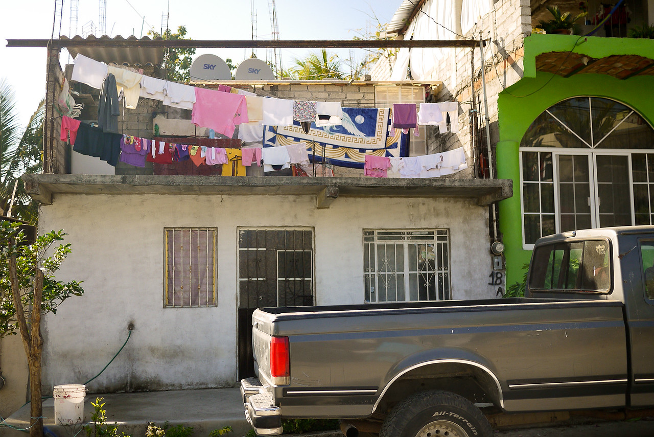 Laundry hung out to dry in San Pancho, Mexico.