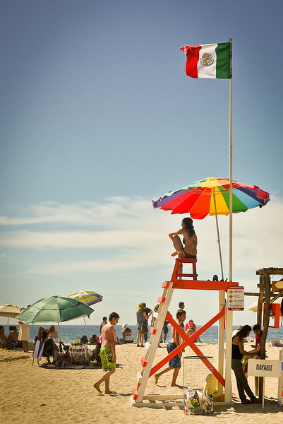 Life guard watches over the San Pancho beach for Semana Santa week.