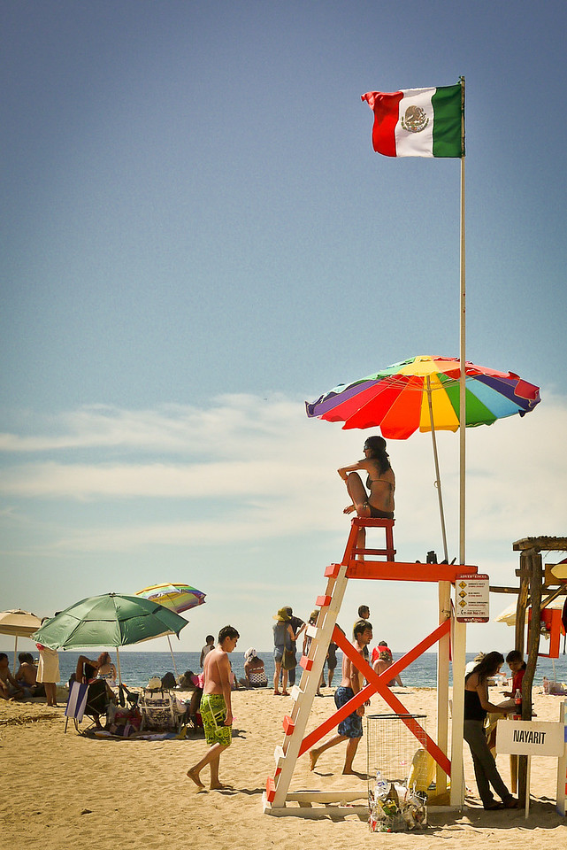 Life guard watches over the San Pancho beach for Semana Santa week.