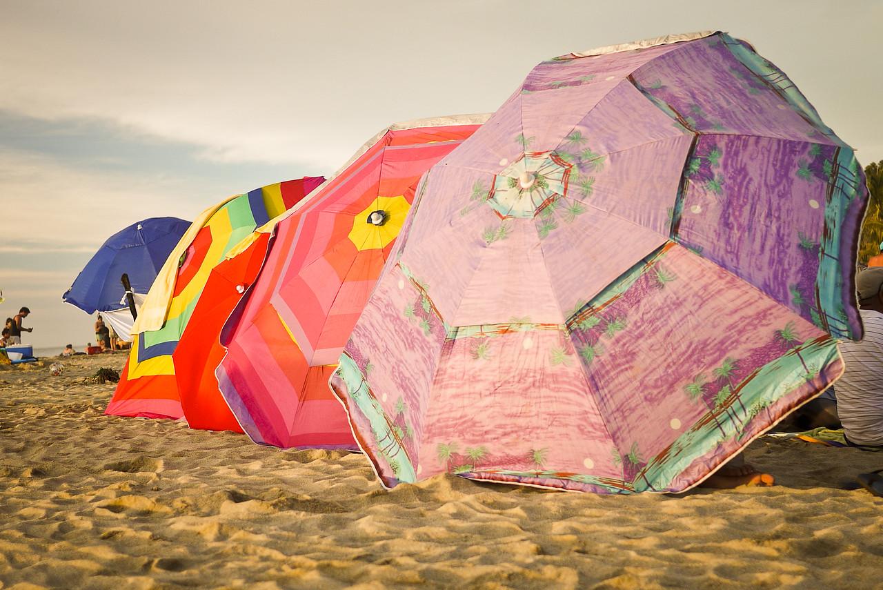 Pretty umbrellas line the beaches of San Pancho, Mexico.