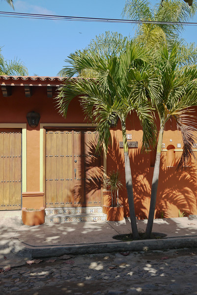 Doors and palms in San Pancho, Mexico.