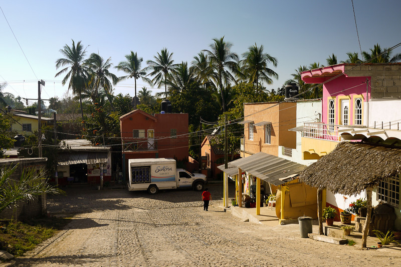 The sunny, quiet streets of San Pancho, Mexico.