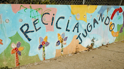 Recycle and play on the colorful walls of the local school in San Pancho, Mexico.
