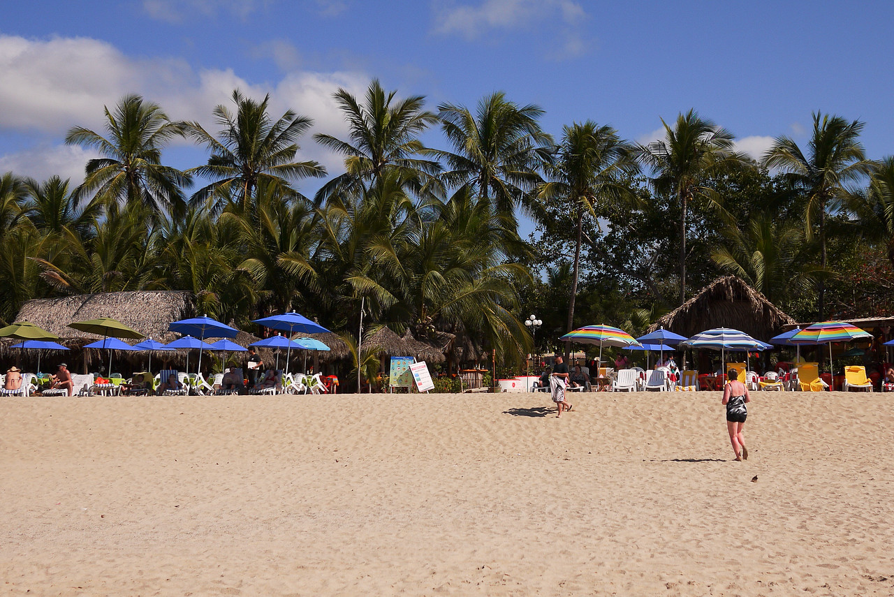 The sunny skies and quiet beach in San Pancho, Mexico.