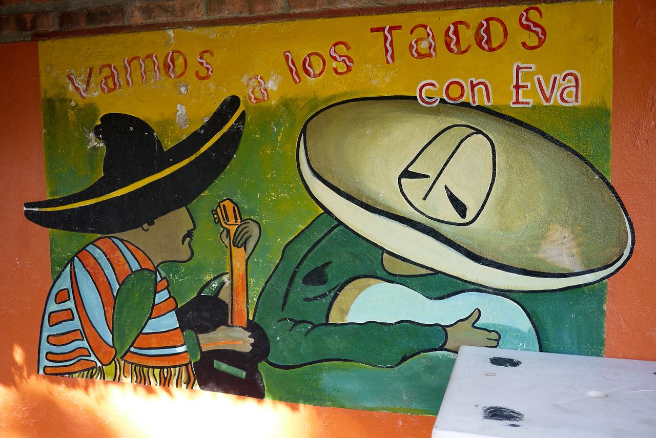 """""""Vamos a los Tacos"""" sign in San Pancho, Mexico."""