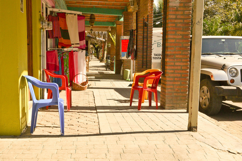 Siesta hour in late afternoon on the streets of San Pancho, Mexico.