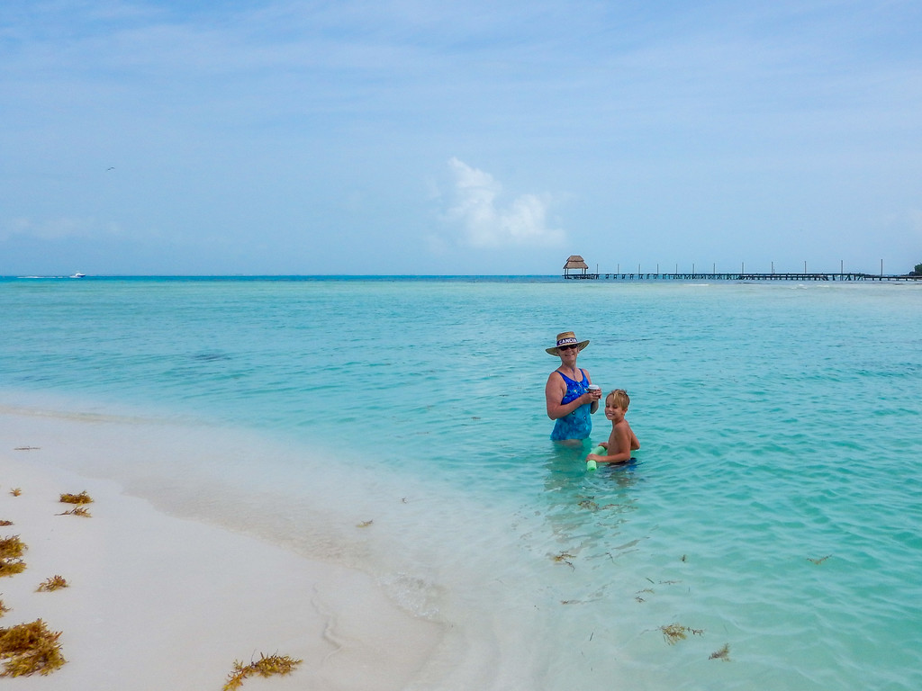 The icy blue waters of Playa Norte, Isla Mujeres