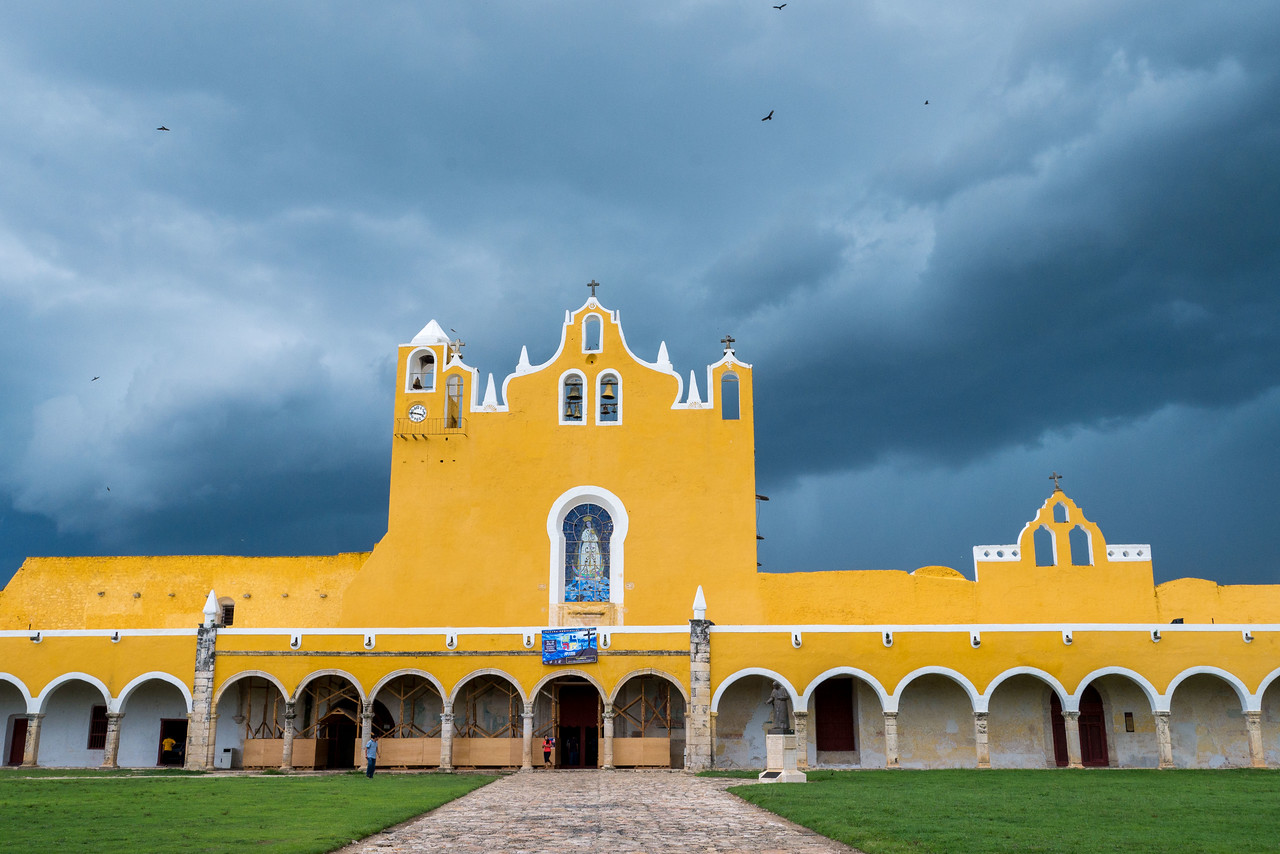 The charming town of Izamal, Mexico in the Yucatan Peninsula.