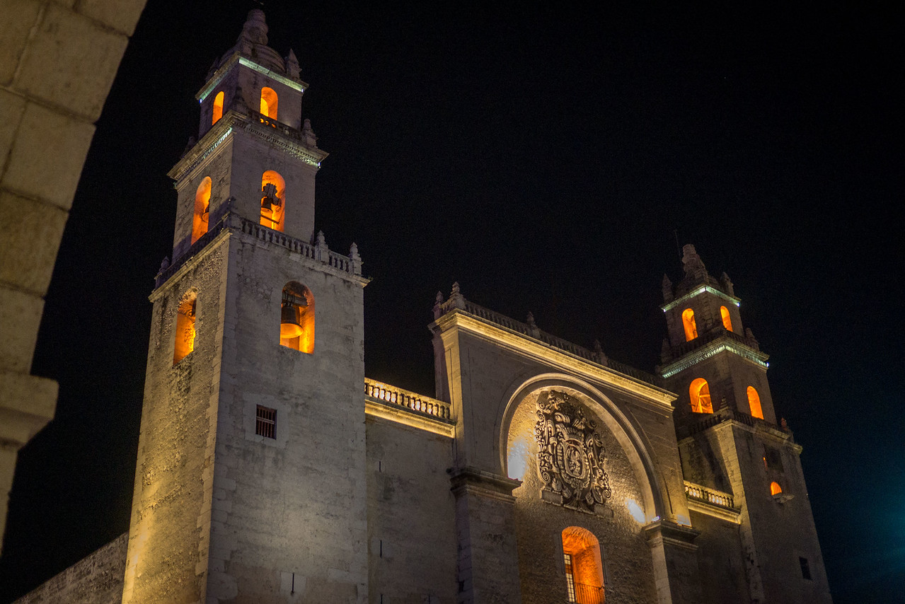 Beautiful church off the parque central.  The beautiful town of Merida, Mexico.