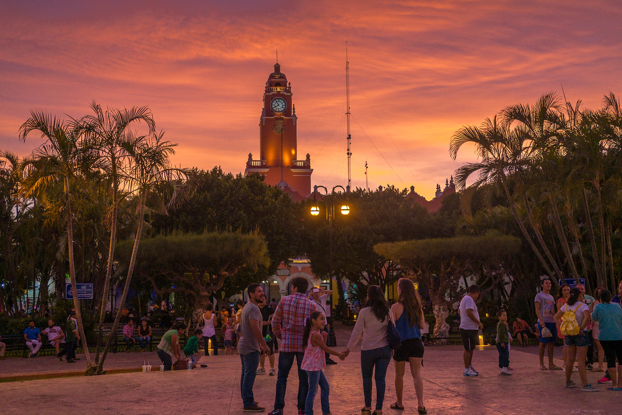 Beautiful sunset colors in the main plaza
