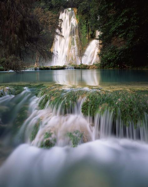 San Luis Potosi, Mexico / Cascading turquoise waters at Minas Viejas falls on the San Luis Potosi-Tamaulipas border in the Sierra Madre Oriental. 1203V6