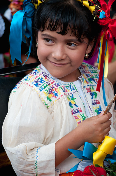 Young girl in costume for a folk dance performance, Oaxaca, Mexico.