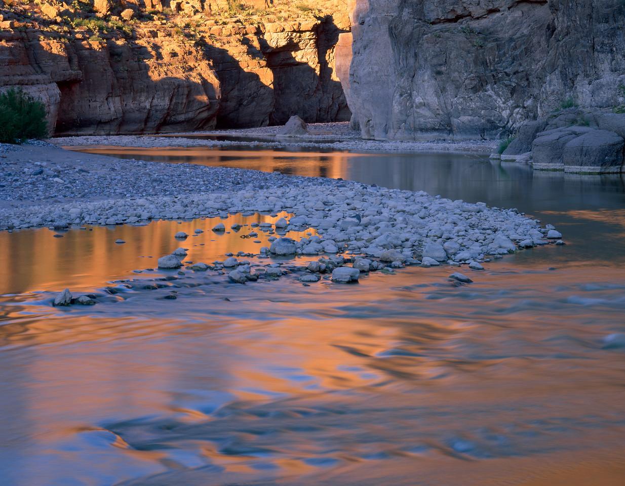 Canyon Santa Elena, Chihuahua, Mex /  Sunset on cliffs reflected in the Rio Grande River at canyon's mouth. Canyon of Santa Elena Flora & Fauna Protection Area.305H5