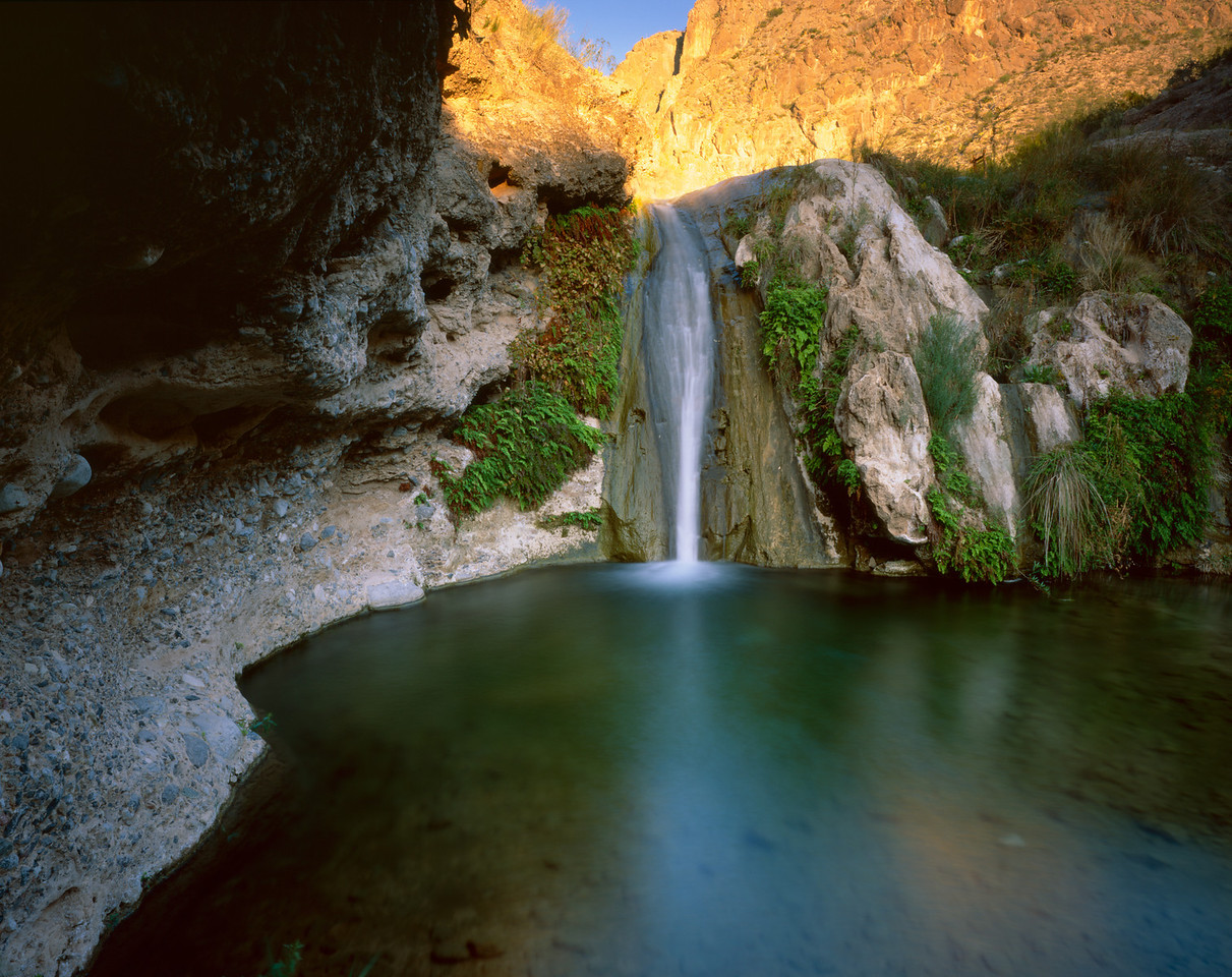 Canyon Santa Elena, Chihuahua, Mex /  Pilas Canyon waterfall  with Sierra Azul Mtns. at dawn. Canyon of Santa Elena Flora and Fauna Protection Area.1005H3