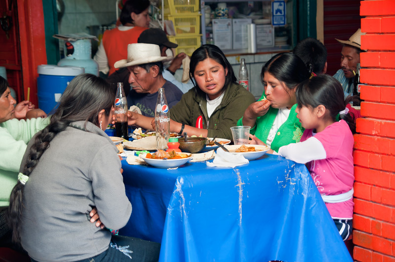 A crowded eatery in the market, Oaxaca, Mexico.