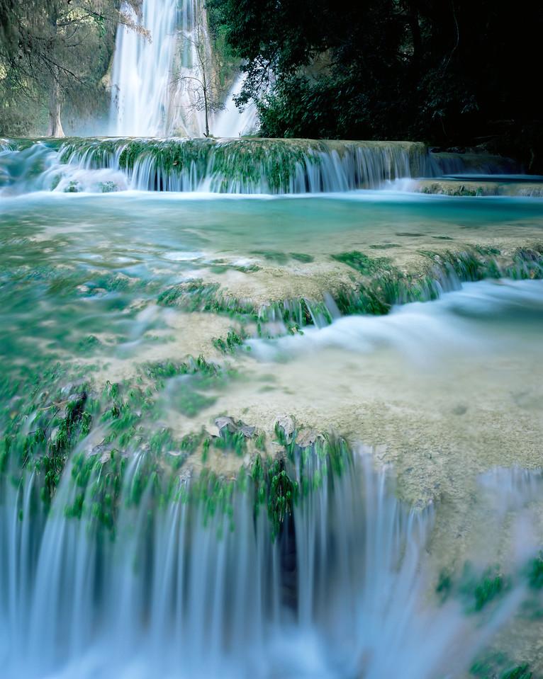 San Luis Potosi, Mexico / Cascading turquoise waters at Minas Viejas falls on the San Luis Potosi-Tamaulipas border in the Sierra Madre Oriental. 1203V4