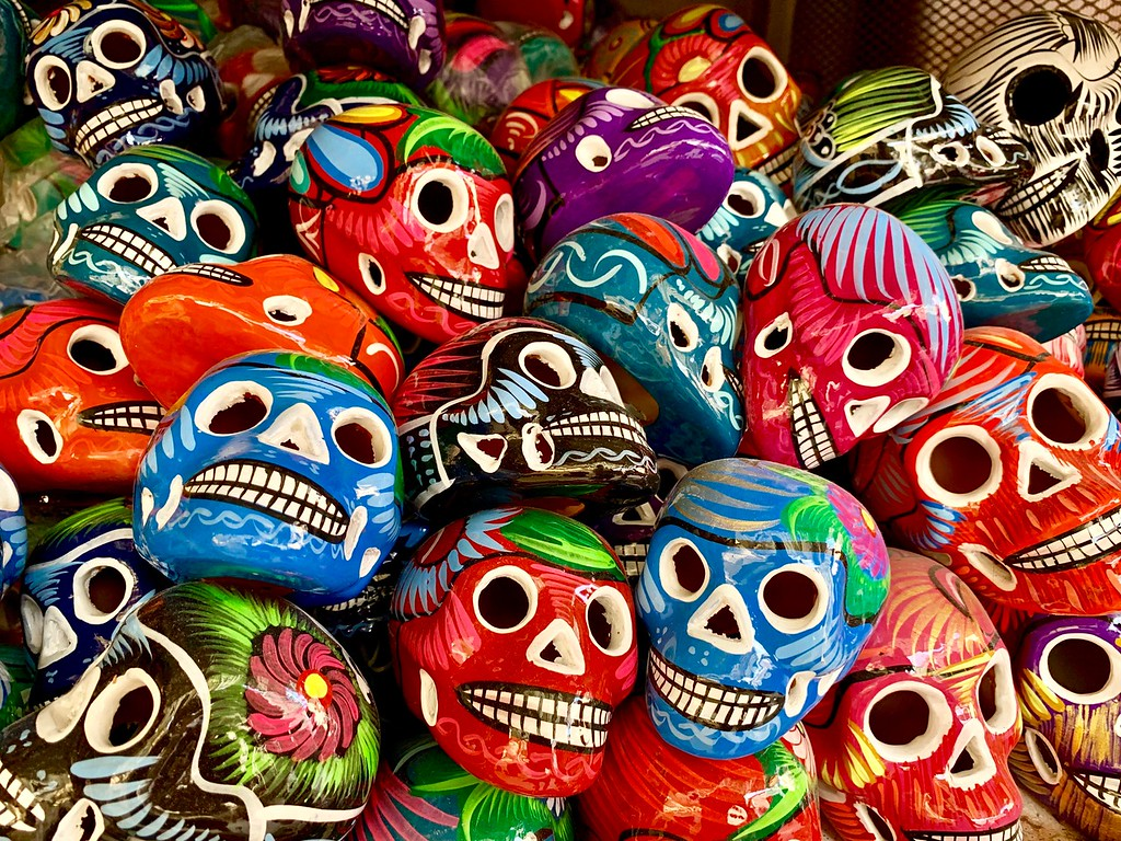 ceramic skulls at La Ciudadela Market in Mexico City, Mexico