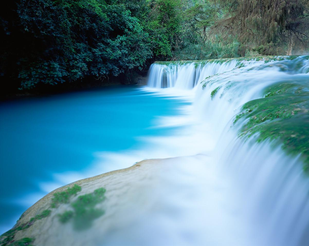 San Luis Potosi, Mexico / Cascading turquoise waters at Minas Viejas falls on the San Luis Potosi-Tamaulipas border in the Sierra Madre Oriental. 1203H3