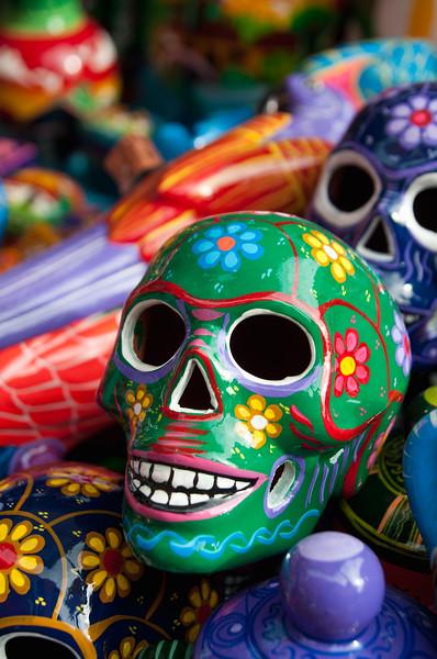 Ceramic skulls for sale, Oaxaca, Mexico.