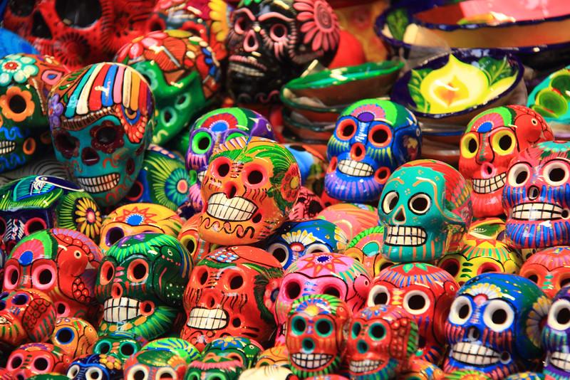 Colorful Dia de los Muertos Skulls in Mexico
