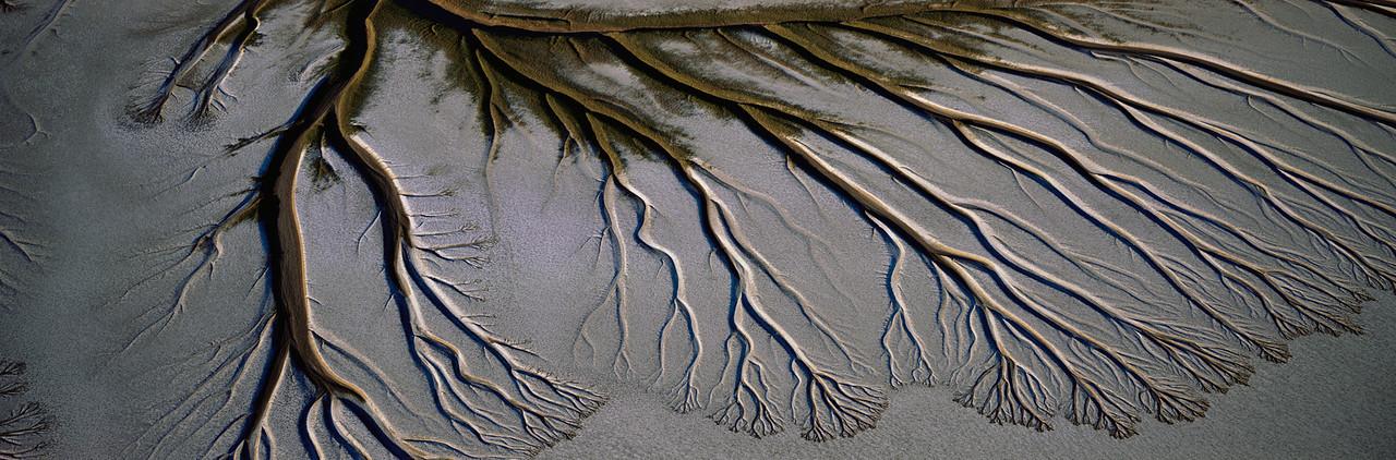 El Golfo Biosphere Reserve, MEX. /  Baja California, Mexico's Upper Gulf & Colorado Delta Biosphere Preserve with Delta's alluvial patterns . 104P1