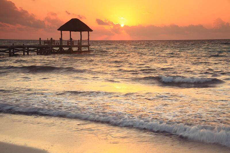 Sunrise Seascape in Playa Del Carmen, Mexico