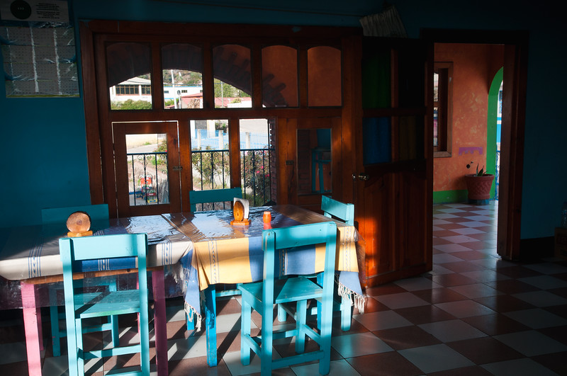 Early morning at a quiet restaurant, Cuajimoloyas, Mexico.