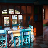 Early morning at a quiet restaurant, Cuajimoloyas, Mexico.