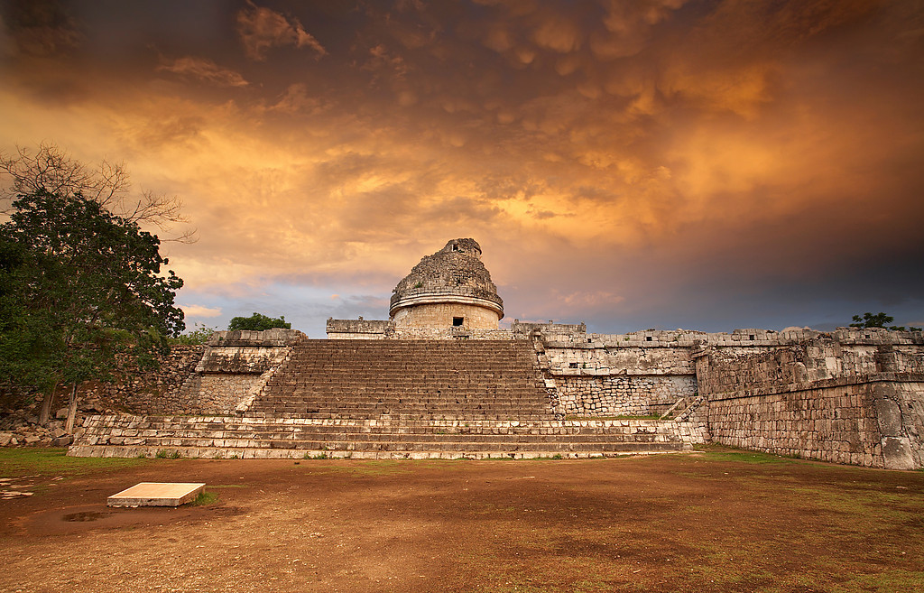 This is the El Caracol observatory in the older (Maya) section of Chichen Itza in Yucatan Mexico. It was built sometime after 600 AD by the Maya. A few hundred years later, the Toltecs took over the site and built many newer structures. This building looks very similar to many modern observatories, but it was mainly used to mark the passage of the seasons and longer periods by the way that the structure was built and aligned with the stars.