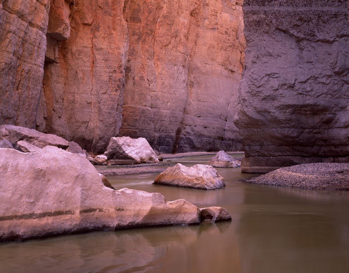 Canyon Santa Elena, Chihuahua, Mex /  Water sculpted boulders in Rio Grande River within steep walls. Canyon of Santa Elena Flora & Fauna Protection Area. 305H8