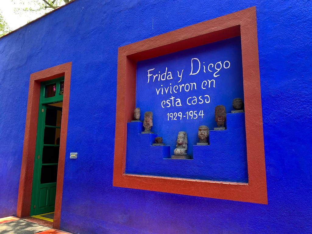 "wall that says ""Frida and Diego lived in this house"" at Casa Azul in Mexico City, Mexico"