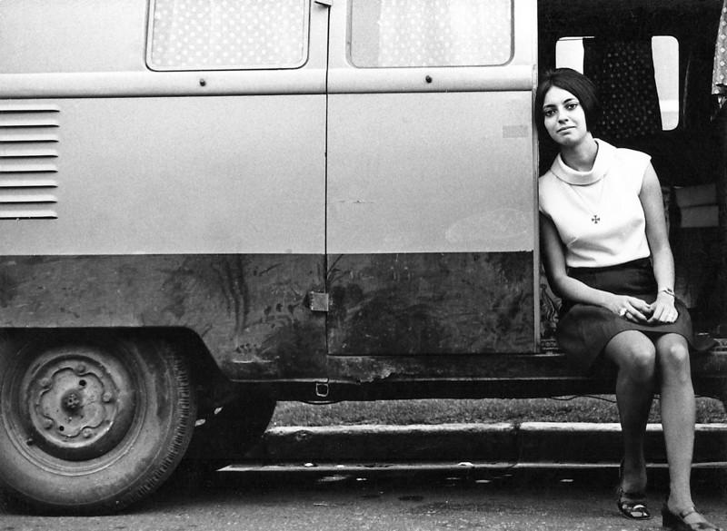 Guille sitting in a 1952 Volkswagen Van (Mexico City)