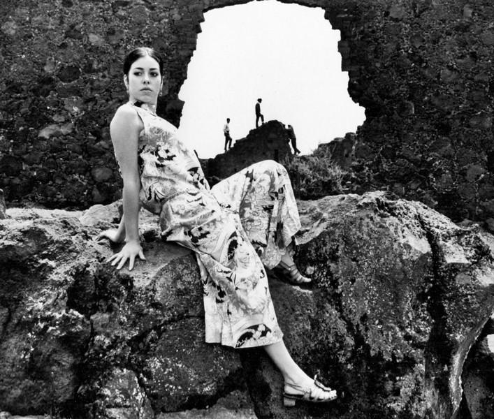 Patricia, an aspiring young model in 1970 at some ruins near Mexico Ctiy
