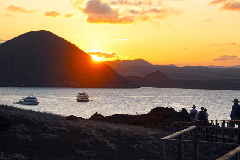 Galapagos Islands, Sunset View over Bartolome from Lookout