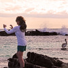 Galapagos Islands, Photographer & Pelican, Puerto Grande Beach, San Cristobal