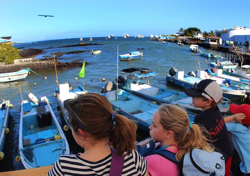 Galapagos Islands, Kids at Embarcadero, Puerto Ayora, Santa Cruz