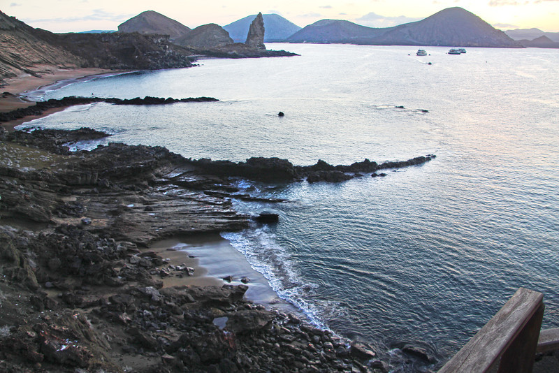 Galapagos Islands ,View over Bartolome Beach onto Pinnacle Rock