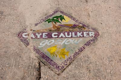 Road sign in Caye Caulker, Belize