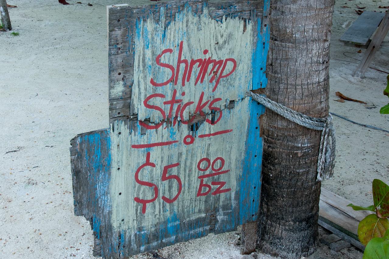 Shrimps sticks sign at Caye Caulker, Belize