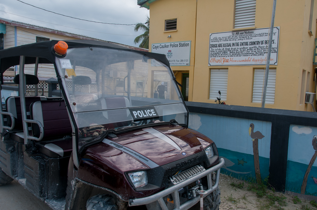 Police vehicle in Caye Caulker, Belize