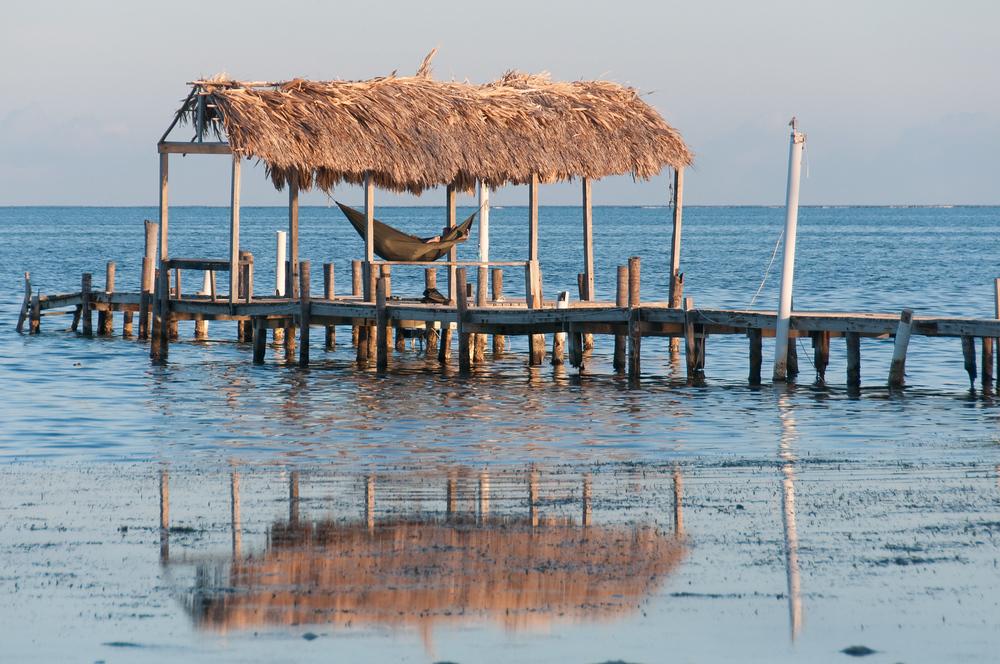 Hammock over water in Caye Caulker, Belize