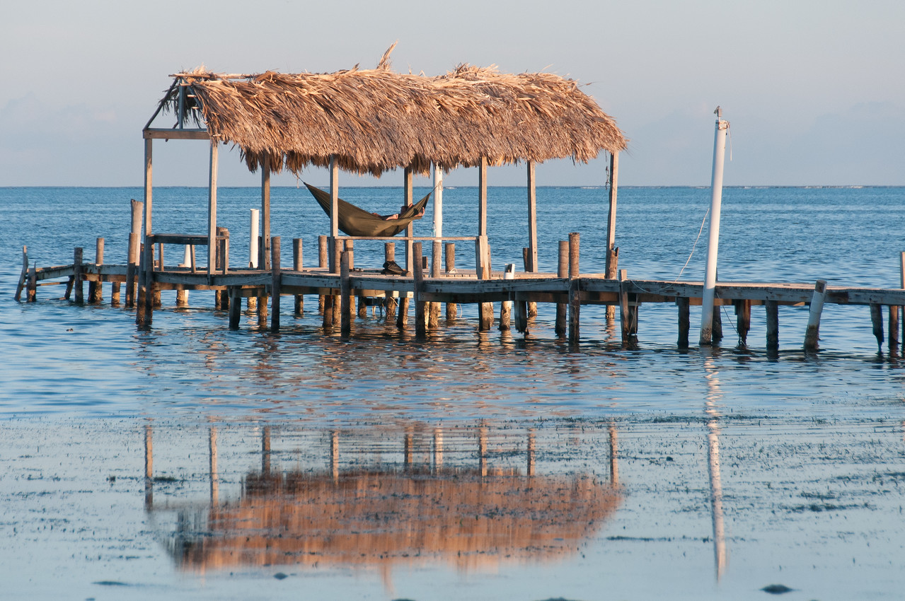 Hammock and hut in Caye Caulker, Belize