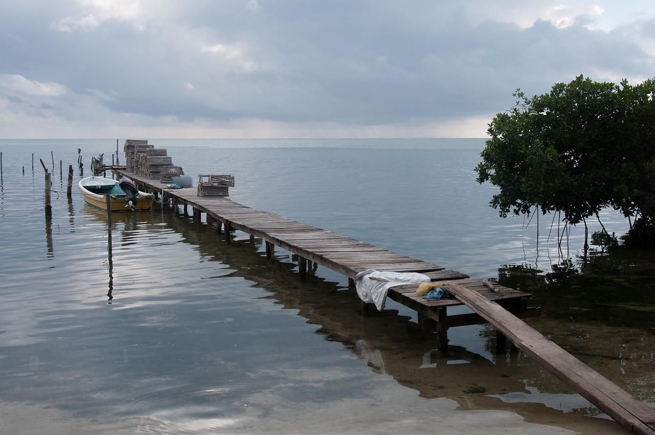 Wooden dock in Caye Caulker, Belize