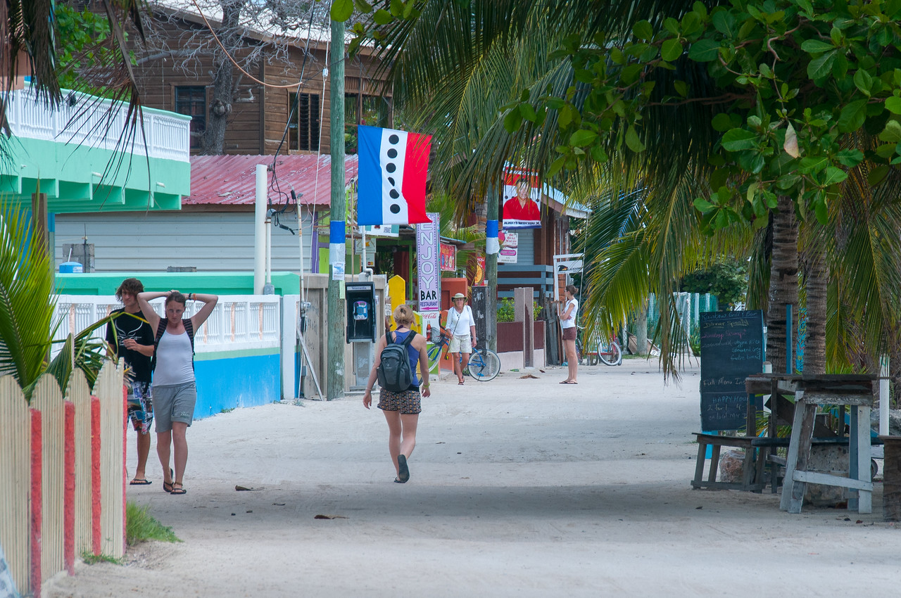Tourists in Caye Caulker, Belize