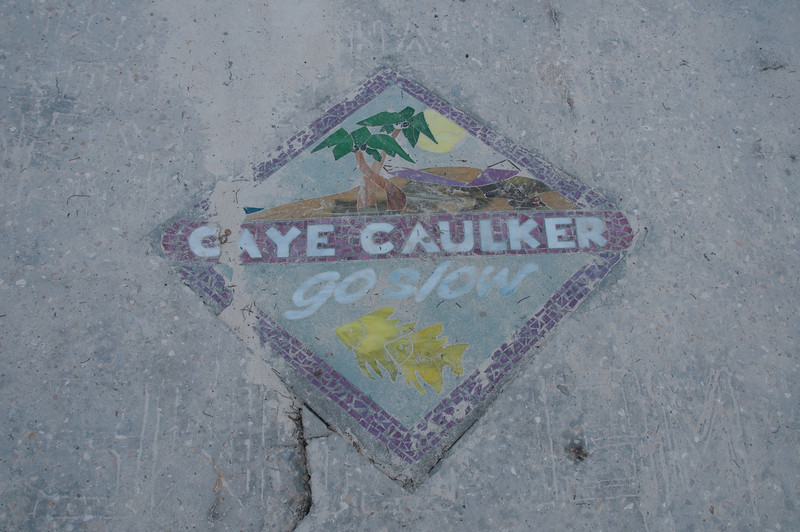 Road sign in Caye Caulker, Belize